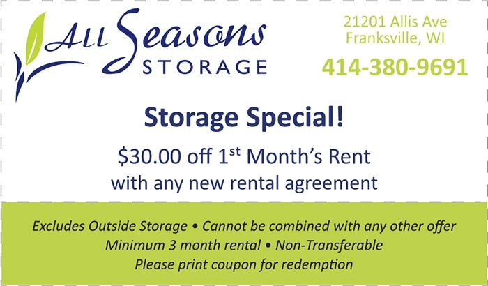 All Seasons Storage Special - $30.00 off 1st Month's Rent with new rental agreement coupon.